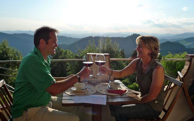 Biolandhaus Arche: Weitblick bei einem Glas Rotwein