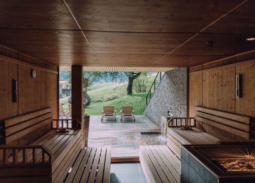 Biohotel Chesa Valisa: Aussicht von der Sauna - Das Naturhotel Chesa Valisa, Hirschegg/Kleinwalsertal, Vorarlberg, Österreich