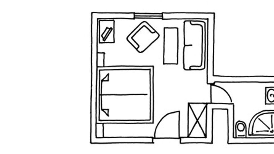 Chambre double côté forêt, bâtiment principal