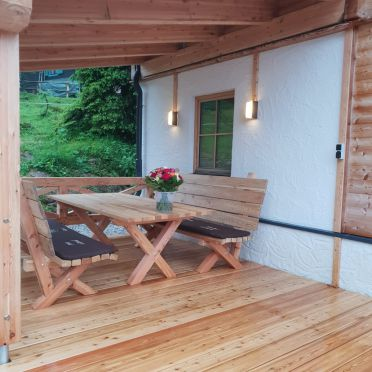 terrace, Holzknechthütte in Aich, Steiermark, Styria , Austria