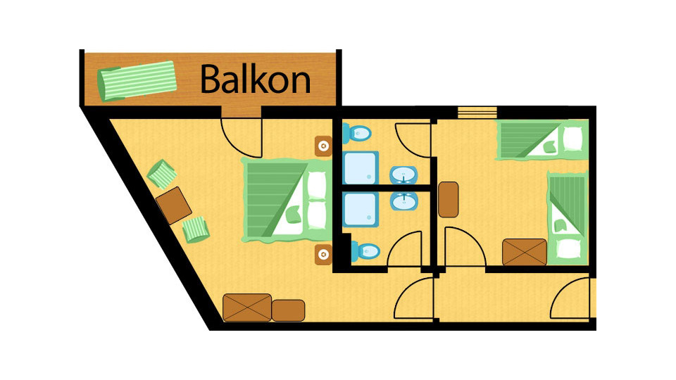 Raumplan Familienzimmer Storchennest im St. Johanner Hof