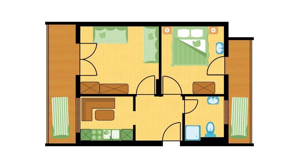 Raumplan Familien Apartment Storchennest in der Alpenvilla Hotel Central