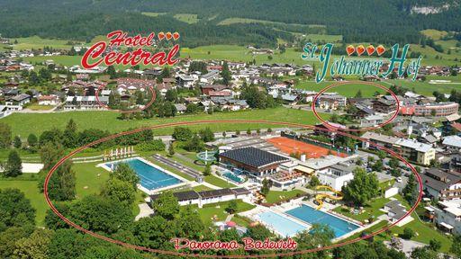 Unsere familienfreundliche Hotelanlage mit seinen Häusern Central, St. Johanner Hof und den Alpenvillen.