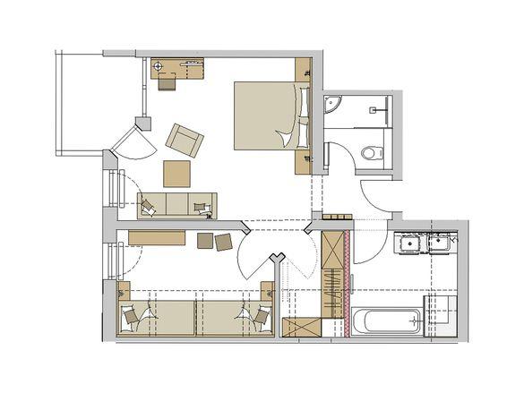 """Family-Suite """"Schreinerhof"""" Mansarde Grundriss #1"""