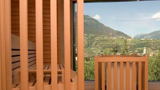 Biohotel Pazeider Sauna mit Ausblick