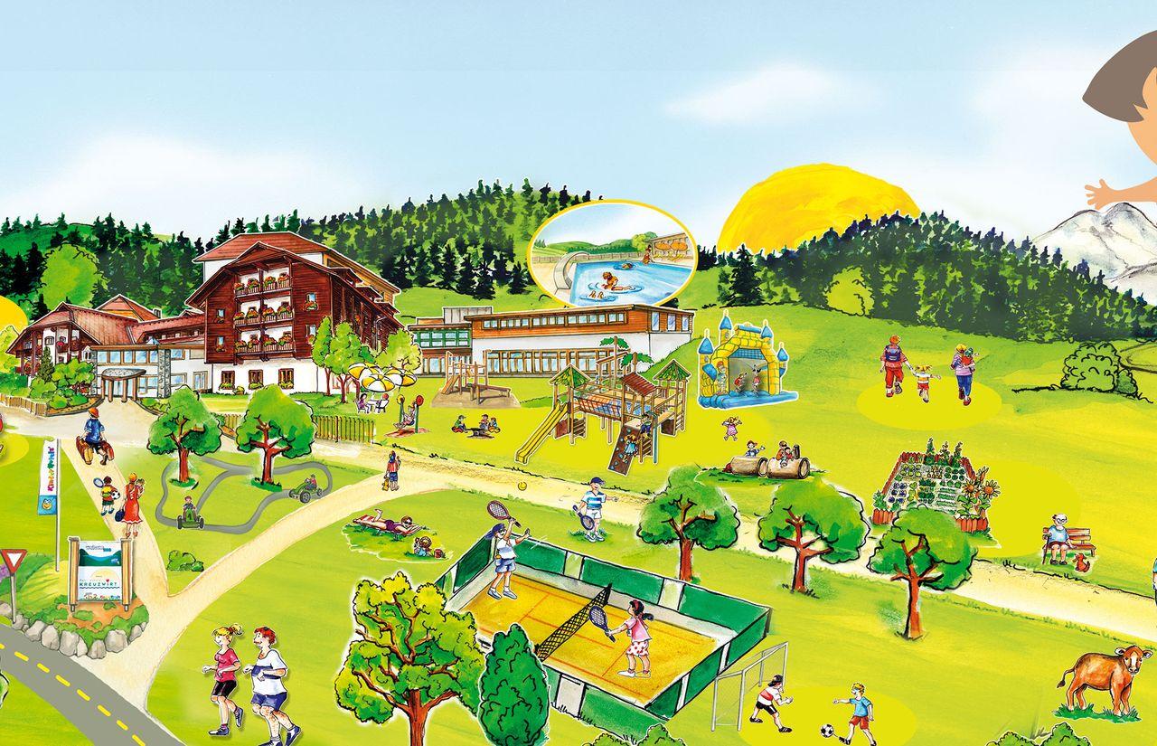 Familienhotel Kreuzwirt - Übersichtsplan Weissensee