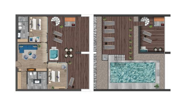 Grundriss Penthouse Pool Villa