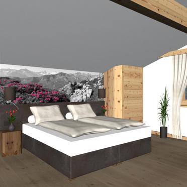 Alpenhoamatl, Visualisierungsbild Schlafzimmer