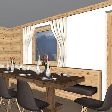 Alpenhoamatl, Visualisierungsbild Wohn- Essbereich