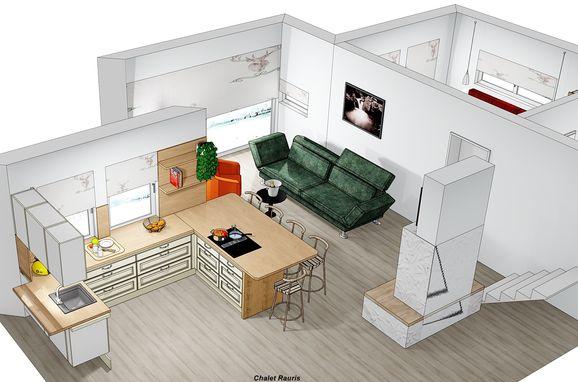 Visualisierungsbild - Wohnbereich mit Küche, Chalet Alteck in Rauris, , Salzburg, Österreich
