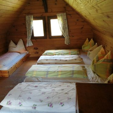 sleeping gallery on the upper floor, Amberger Hütte, Paternion-Fresach, Nockregion, Carinthia , Austria