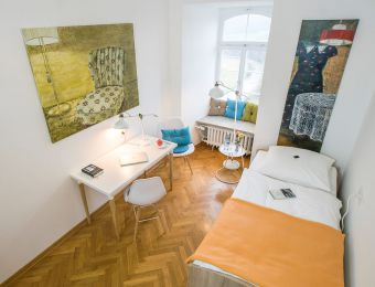 Einzelzimmer Standard mit Bad - Biohotel Schloss Kirchberg